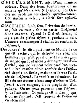 dictionnaire obscurite